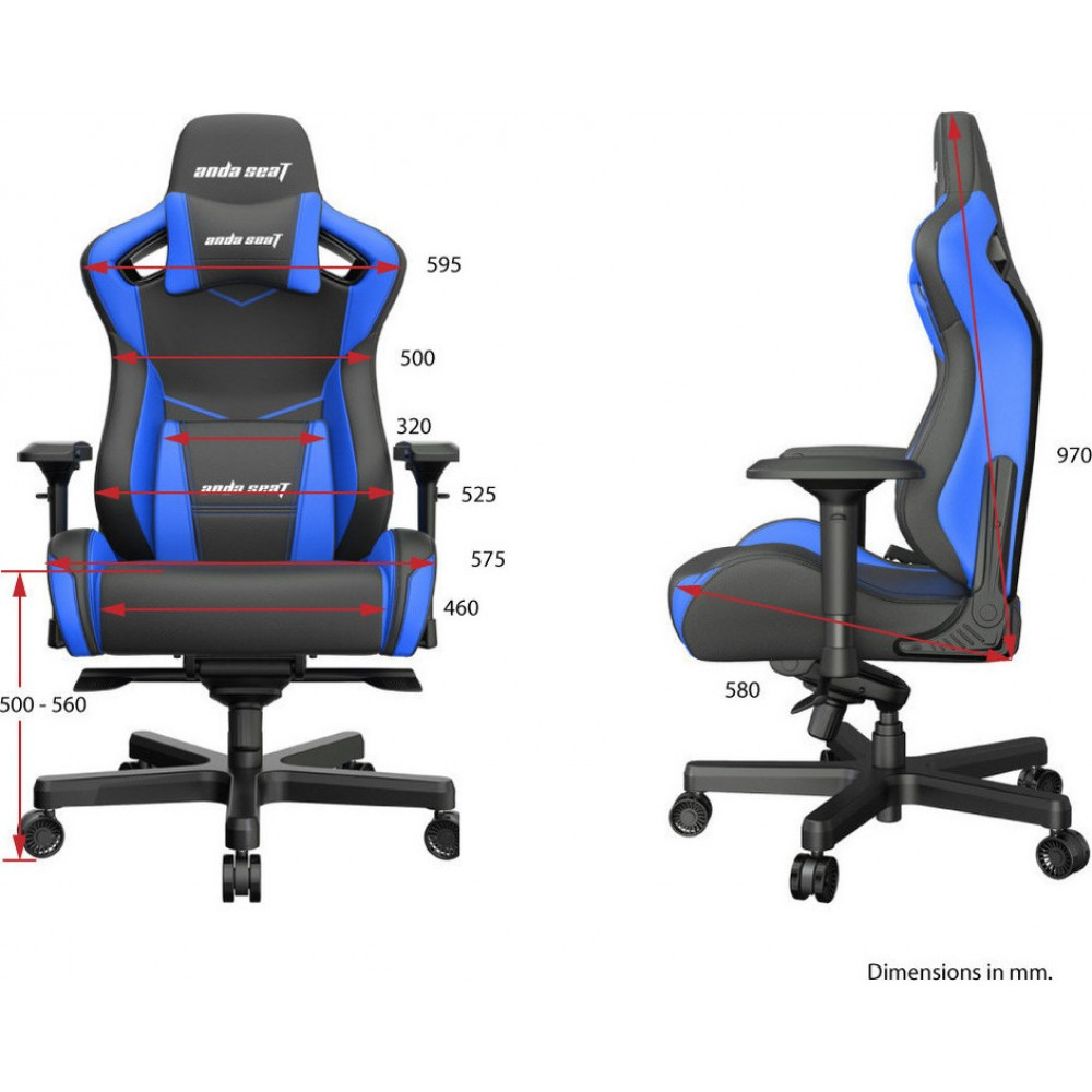 Anda Seat AD12XL Kaiser II Black/Blue Gaming Chair (3 ΈΩΣ 36 ΔΌΣΕΙΣ)